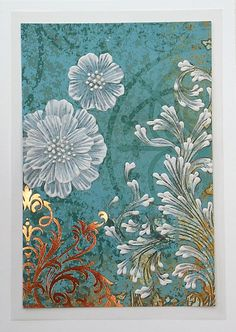 Texture Painted Embossed Floral Greeting Card by MargotTheMUDLady