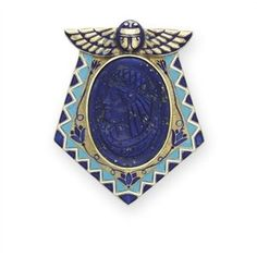 Egyptian Revival lapis lazuli, enamel and gold brooch