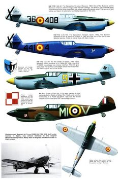 Graphic detailing non-German variants of the Bf109, including captured aircraft, Avia S-199s and Hispano HA-1112s.
