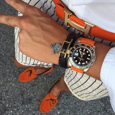 Great orange combo by our bro @mirko1704  The lion bracelets are back in stock so order them from @anilarjandas