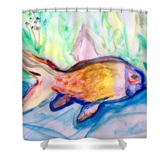 Fish Nature Swim Pastel Colors Blue Animals Water Ocean Marine Kids Baby Bedroom Pastels Sweet Light Soft Tones Aqua Agua Eau Shower Curtain featuring the painting Fishy by Chava Sarah