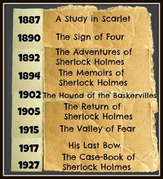 The Complete List of Sherlock Holmes books written by Arthur Conan Doyle - in the order in which they were published.