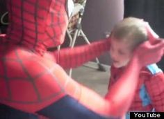 Greatest dad in the world! He dresses as Spiderman, dresses his 3yo son the same, and takes him on an adventure to Sky High Sports trampoline center in Houston. Super Dad!