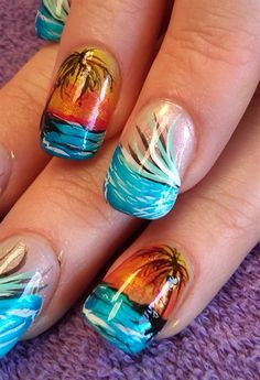 Looking for some ideas for your summer nails? We've got the best selection of ideas and inspiration for your holiday and summer nail designs and nail art Nail Art Long, Cool Nail Art, Manicure Gel, Diy Nails, Pedicure, Fingernail Designs, Cool Nail Designs, Fancy Nails, Love Nails