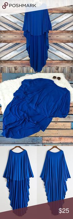 "Royal Blue Raw Edge Batwing Poncho Dressy-casual, raw edge, high low, asymmetric hem, cotton / polyester / spandex, poncho blouse.   New. Size is 2XL.   Bust: 38""  Front L: 24"" Back L: 49.5"" Sleeve: 23.5""  • No Trades • Tops"