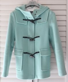 minty Burberry coat...omg. I am totally in love. I wore duffel coats like this in my late teens, LOVED it? I do this one too.