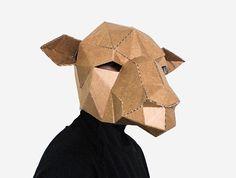 Printable Animal Mask Templates & DIY Paper Sculptures by LapaStudios Diy Paper, Paper Art, Paper Crafts, Printable Animal Masks, Low Poly Mask, Nativity Costumes, Mask Template, Animal Heads, Diy Mask