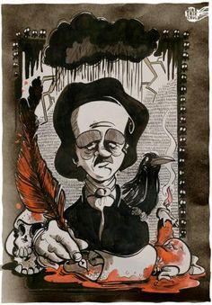 Cartoon: Edgar Allen Poe (medium) by Dirk ESchulz tagged dirk,erik,schulz,edgar allen poe,verrücktheit,exzentrik,bizarr,schrullig,sonderbar,...