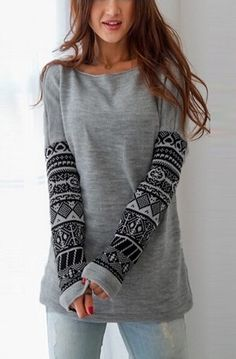 looks super comfortable   FREE SHIPPING Round Neck Tribal Prints Long Sleeve Sweatshirt