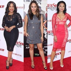 Actresses #NeicyNash #TameraMowry & #ReginaHall snap photography on arrival at the premiere of New Line Cinemas #Barbershop: The Next Cut at the TCL Chinese Theatre in Hollywood April 6th.