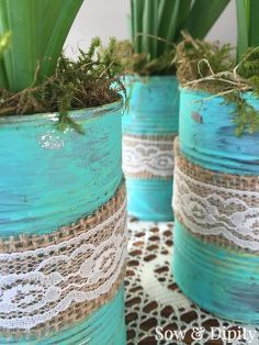 tin can spring planters, crafts, easter decorations, gardening, repurposing upcycling, seasonal holiday decor