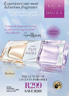Introducing our first Fragrance, Eve Duet, and all our August offers in Skincare, Make-up and Fashion. You And I, Fragrance, Advertising, Skin Care, Bottle, Makeup, Avon Products, Ballet Flat, Tu Y Yo