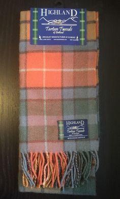 Highland Tartan Tweeds of Scotland Scarf 100% Lambswool Tan Unisex Fringe    eBay