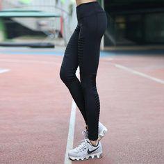 Women Sports Yoga Pants Fitness Sportwear Trousers Leggings Pleated Mesh Compression Gym Slim Pleat Splicing Coast leggings