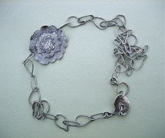 Peony Pendant with fused chain - fine silver - made by Catherine Witherell