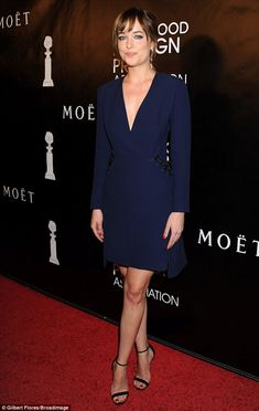 Dakota Johnson oozes elegance in plunging blue dress at Hollywood bash : Leggy lady: Smiling at the cameras, the Fifty Shades Of Grey star oozed heaps of elegance . Dakota Johnson Feet, Dakota Johnson Style, Dakota Mayi Johnson, Dakota Style, Models, Fifty Shades Of Grey, Red Carpet Fashion, Dress To Impress, Blue Dresses