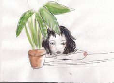 le blog d'oz*, portrait mathilda, film léon, nathalie portman, luc besson, illustration, aquarelle