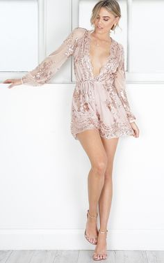 Slow Motion Playsuit in Gold Sequin