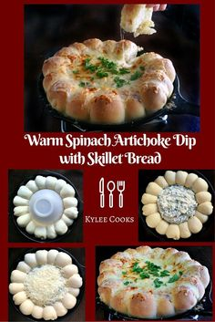 Spinach Artichoke Dip with Skillet Bread - a warm skillet full of delicious, creamy Spinach and Artichoke Dip, surrounded by baked-in-the-skillet chewy bread - perfect for sharing!
