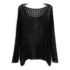 SheIn(sheinside) Black Long Sleeve Hollow Loose Knit Sweater (320 MXN) ❤ liked on Polyvore featuring tops, sweaters, black, shirts, loose sweater, black shirt, long sleeve sweaters, knit sweater and knit pullover sweater