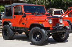 """""""laissez bon temps rouler"""" 1983 Red CJ7 ~ 258 Six Straight Cylinder, 5-Speed Manual, Soft Top, $15,995! -Let the good times roll- http://www.selectjeeps.com/inventory/view/9303715/1983-Jeep-CJ-4WD-Wagon-CJ7-League-City-TX"""