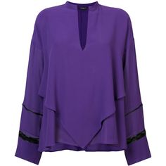Derek Lam Lace Inset Handkerchief Blouse ($685) ❤ liked on Polyvore featuring tops, blouses, derek lam, v-neck top, oversized tops, purple blouse and derek lam blouse