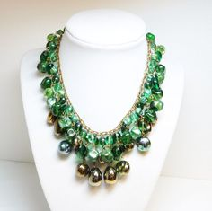 Green Beaded Necklace Book Piece Signed Western от thejewelseeker