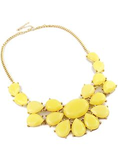 Yellow Drop Gemstone Gold Chain Necklace - Sheinside.com
