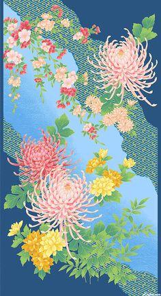 "Mandalay - Chrysanthemum River - Blue/Gold - 24"" x 44"" PANEL"