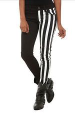 hot topic pants | Hot Topic Black White Tripp Royal Bones Stripe Striped Split Leg ...