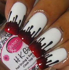 Paint Drip Vinyls Nail Art twinkled t nail art brushes Holloween Nails, Cute Halloween Nails, Halloween Acrylic Nails, Halloween Nail Designs, Best Acrylic Nails, Cool Nail Designs, Acrylic Nail Designs, Edgy Nails, Stylish Nails