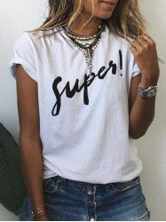 Brief Round Collar Short Sleeves Letter Print T-Shirt For Women (WHITE,L) | Sammydress.com Mobile