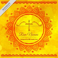 Yellow watercolor background with ram navami festive bow Free Vector Ram Navmi, Happy Dussehra Wishes, Happy Ram Navami, Order Food Online, Dehradun, Train Journey, Watercolor Background, Fun Facts, Vector Free