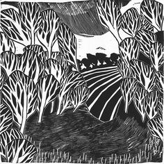 An original linocut print entitled Abstract Landscape (2011). This ...
