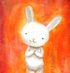 Original Illustration Bunny White Rabbit Orange Background by MiKa Art $29.99, via Etsy.