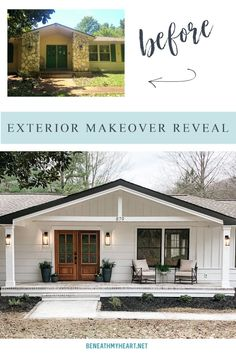 Check out the amazing before and after pictures of the exterior makeover! Lowe's Check out the amazing before and after pictures of the exterior makeover! Lowe's Front Porch Makeover, Home Exterior Makeover, Exterior Remodel, Ranch Homes Exterior, Home Exterior Design, House Ideas Exterior, Home Exterior Colors, Craftsman Bungalow Exterior, Front Porch Remodel
