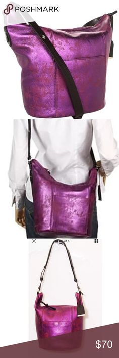 COLE HAAN Metallic Bucket Crossbody Purple Purse Gorgeous COLE HAAN Metallic Bucket Shoulder Crossbody Leather Purple Bag Purse Cole Haan Bags Shoulder Bags