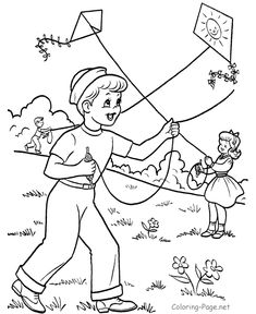 Boy & girl flying kites.