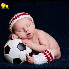 2015 soccer design newborn photograph pros handmade baby hat enfant ganchillo crochet touca infantil football baby