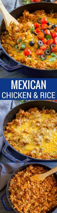 Mexican Chicken and Rice Delicious Mexican Chicken and Rice is a healthy recipe your whole family will enjoy! This scrumptious, satisfying one-pan meal is quick and easy to make. Best Potluck Dishes, Potluck Recipes, Casserole Recipes, Breakfast Recipes, Cooking Recipes, Healthy Recipes, Fall Recipes, Drink Recipes, Mexican Cooking