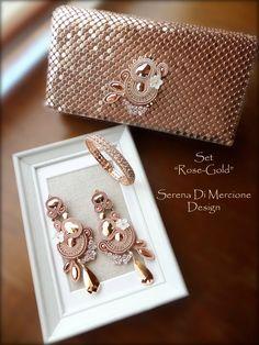 Soutacheparure by serena Di Mercione Leather Jewelry, Boho Jewelry, Beaded Jewelry, Jewelery, Handmade Jewelry, Shibori, Soutache Tutorial, Fabric Origami, Soutache Necklace