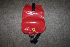 Ferrari Red Vinyl Sling Bag Shoulder Strap Closure Pool Gym Hiking Backpack #Ferrari #Backpack