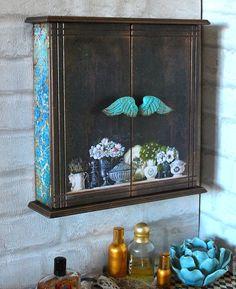 """Купить Шкафчик """"Цветы Парижа"""" - тёмно-бирюзовый, бирюзовый, шоколадный цвет, ключница, шкафчик для ключей"""