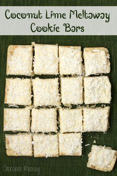 "Coconut Lime Meltaway Cookie Bars in 8"" square with lime zest, white chips. Frosting has coconut & extract & coconut milk"