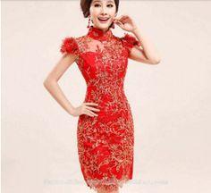 Gold embroidered modern silk qipao short Chinese red cheongsam bridal wedding dress