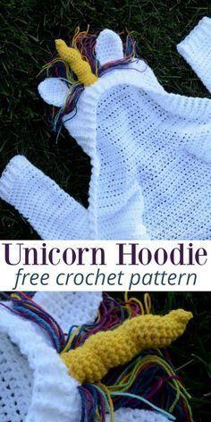 Unicorn Hoodie for kids, a free crochet pattern