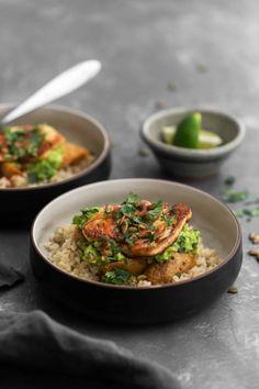 Halloumi Burrito Bowl with Roasted Potatoes   Naturally Ella Vegetarian Burrito, Vegetarian Recipes, Cooking Recipes, Healthy Recipes, Savoury Recipes, Vegetarian Dinners, Meal Recipes, Vegan Meals, Kitchen Recipes