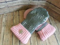 Recycled sweater mittens pink & gray mittens ladies gloves sequins mittens upcycled sweater mittens fleece mittens eco striped gloves