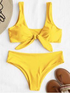 Shop for Front Knot Padded Bikini Set YELLOW: Bikinis M at ZAFUL. Only $15.99 and free shipping!