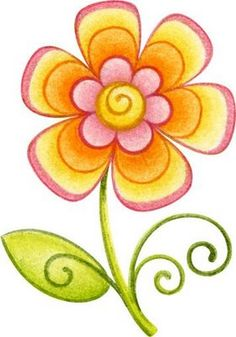 dibujos de flores de colores - Imagenes y dibujos para imprimirTodo en imagenes y dibujos {could paint different whimsical flowers on a curved paver for garden}